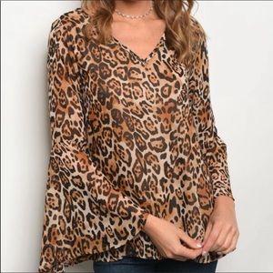 Leopard Print Flowy Blouse